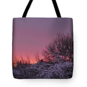Sunset Over Fresh Snow Tote Bag