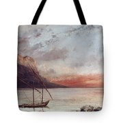 Sunset Over Lake Leman Tote Bag by Gustave Courbet