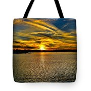 Sunset Over Lake Palestine Tote Bag
