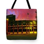 Sunset Over Lambeau Field Tote Bag