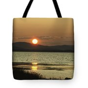 Sunset Over Mountains And Water Tote Bag
