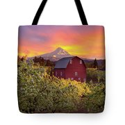 Sunset Over Mt Hood And Red Barn Tote Bag