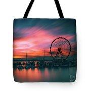 Sunset Over National Harbor Ferris Wheel Tote Bag