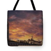 Sunset Over Port Of San Francisco Ferry Building Tote Bag