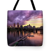Sunset Over Portland Oregon Downtown Waterfront Tote Bag