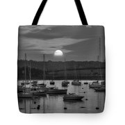 Sunset Over Salem Harbor Salem Beverly Bridge Black And White Tote Bag
