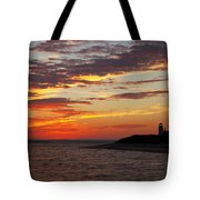 Sunset Over Sandy Neck Lighthouse Tote Bag