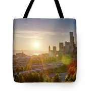 Sunset Over Seattle Downtown Skyline Tote Bag