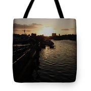 Sunset Over Sutton Harbour Plymouth Tote Bag