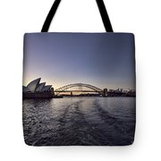 Sunset Over Sydney Harbor Bridge And Sydney Opera House Tote Bag