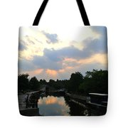 Sunset Over The Canal At Ladbroke Grove. Tote Bag