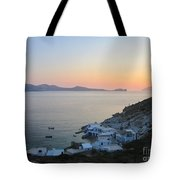 Sunset Over The Fishing Cove Of Klima On The Cycladic Island Of Milos Tote Bag