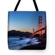 Sunset Over The Golden Gate Bridge Tote Bag