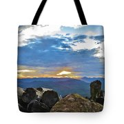 Sunset Over The Mountain Range Tote Bag