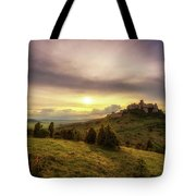 Sunset Over The Ruins Of Spis Castle In Slovakia Tote Bag