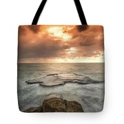 Sunset Over The Sea In Israel Tote Bag