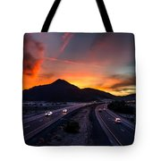 Sunset Over The Soda Mountains Tote Bag