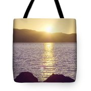 Sunset Over The Straits Tote Bag by Cindy Garber Iverson