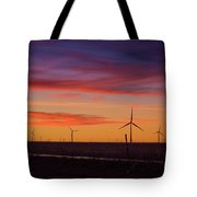 Sunset Over Windmills Field Tote Bag