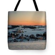 Sunset Over Winter Landscape Tote Bag