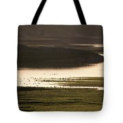Sunset Over Yellowstone River In Yellowstone National Park Tote Bag