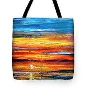 Sunset - Palette Knife Oil Painting On Canvas By Leonid Afremov Tote Bag