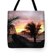 Sunset Palms At Sharky's On The Pier Tote Bag