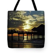Sunset Pier Reflection Tote Bag