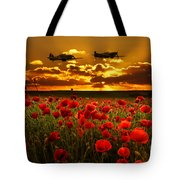Sunset Poppies Fighter Command Tote Bag