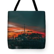 Sunset Santa Monica Pier Tote Bag