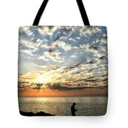 Sunset Sea Fishing  Tote Bag