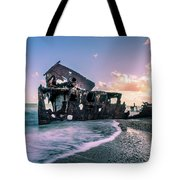 Sunset Shipwreck Tote Bag