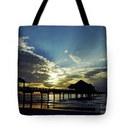 Sunset Silhouette Pier 60 Tote Bag