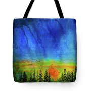 Sunset Silhouette With Canada Geese Tote Bag