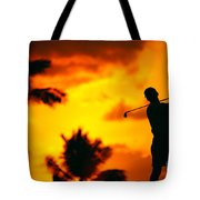 Sunset Silhouetted Golfer Tote Bag