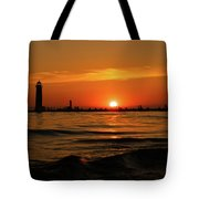Sunset Silhouettes At Grand Haven Michigan Tote Bag