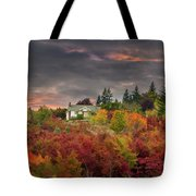 Sunset Sky Over Farm House In Rural Oregon Tote Bag