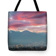 Sunset Sky Over Port Of Vancouver Bc Tote Bag
