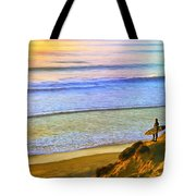 Sunset Surf At La Jolla Tote Bag