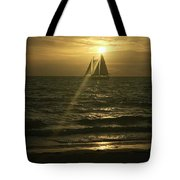 Sunset Through Sailboat Tote Bag