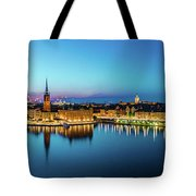 Sunset To Blue Hour Panorama Over Gamla Stan In Stockholm Tote Bag