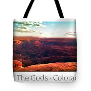 Sunset Tour Valley Of The Gods Utah Pan 09 Text Tote Bag