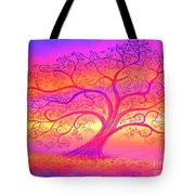 Sunset Tree Cats Tote Bag