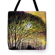 Sunset Tree Silhouette Tote Bag