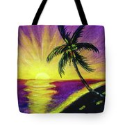 Sunset Water Color Footprints #26 Tote Bag