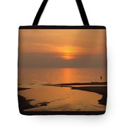 Sunset While Fishing At River Mouth And Lake Michigan Tote Bag