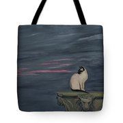 Sunset With A Siamese Cat On A Balustrade Tote Bag