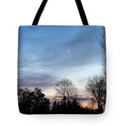 Sunset With Crescent Moon Tote Bag