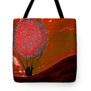 Sunset With Red Hot Air Balloon. Tote Bag