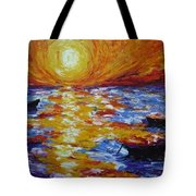 Sunset With Three Boats Tote Bag
